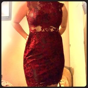 Burgundy Red Lace/Leather Dress